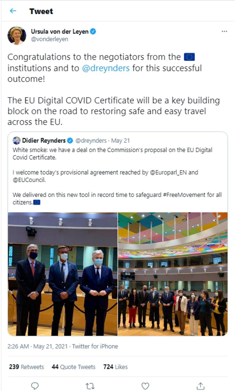 EUの「EU Digital COVID Certificate」導入を賞賛しているライエン委員長の投稿