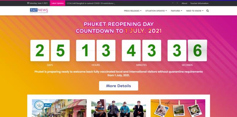 タイ国政府観光庁の報道発表ページのトップ画面
