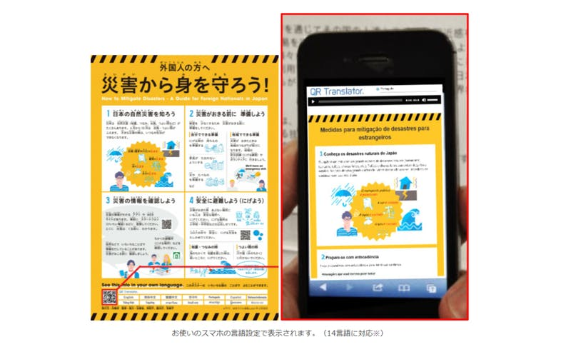 「外国人のための減災のポイント」ポスター、QRコードのイメージ 内閣府