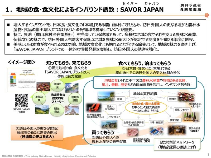 ▲SAVOR JAPAN 参考資料:農林水産省 食料産業局