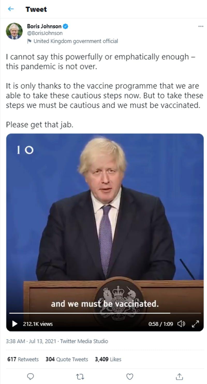 Boris Johnson首相のTwitterより規制撤廃に関する投稿