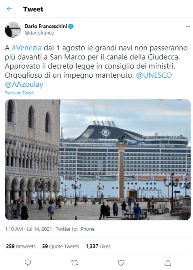ダリオ・フランチェスキーニ議員のクルーズ船入港禁止の発表に関する投稿