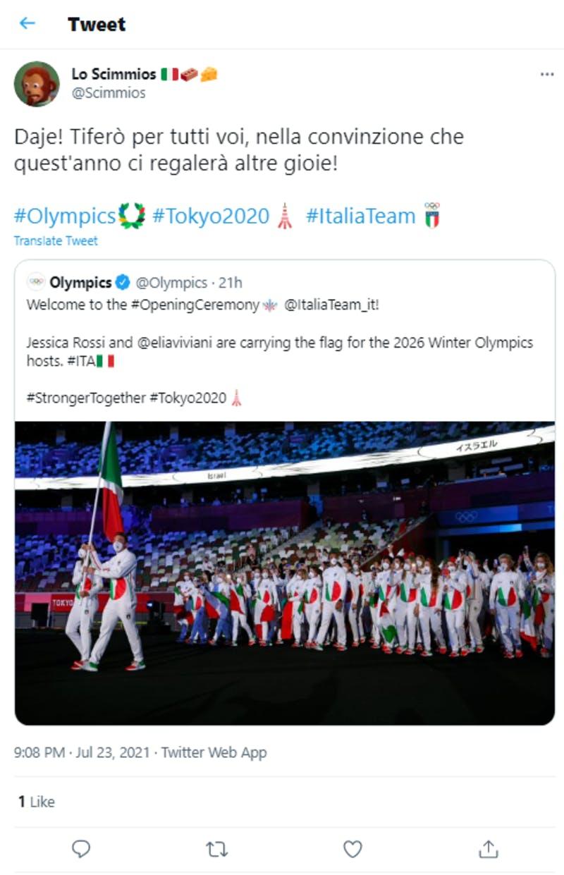 イタリア人を応援している投稿