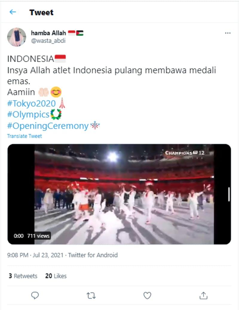 インドネシア人選手が金メダルを自国にもたらすことを期待している様子