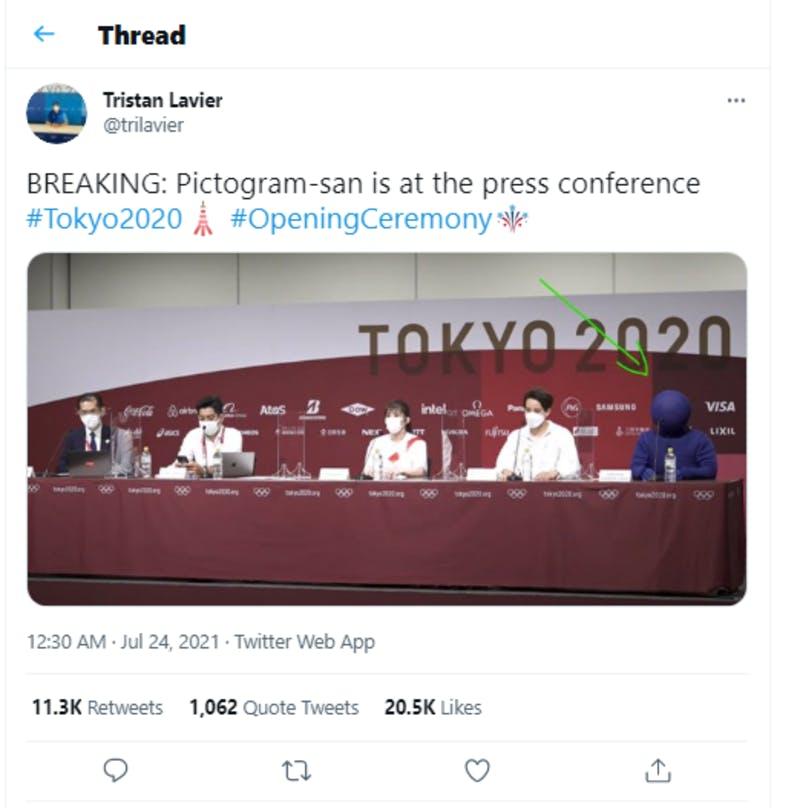 ピクトグラムを表現したパフォーマーの記者会見参加を取り上げている投稿