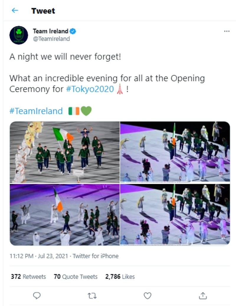 アイルランド選手団による開会式についての投稿