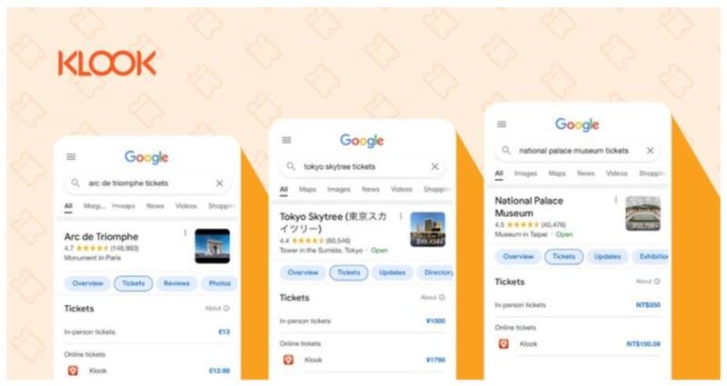 Googleの予約検索表示機能:Klook Travel Technology Limitedプレスリリース