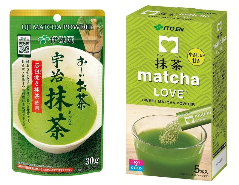 「お~いお茶 宇治抹茶」「matcha LOVE 有糖抹茶スティック」