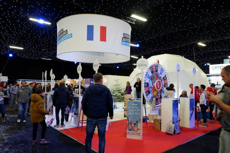 ▲ロンドンで開催「The Telegraph Ski & Snowboard Festival」:フランス誘致のブース