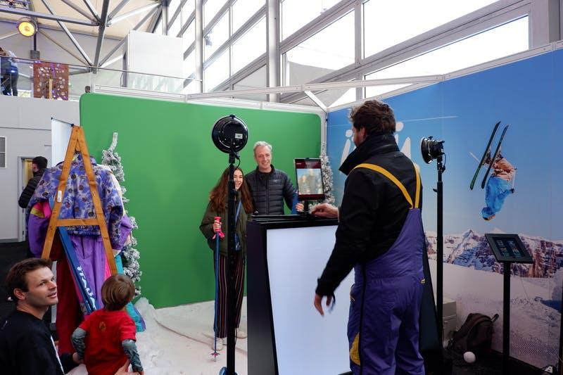 ▲ロンドンで開催「The Telegraph Ski & Snowboard Festival」:合成写真ブースの様子