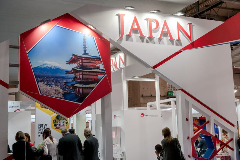 ▲IBTM World Barcelona:日本らしい「富士山」の写真が使われているブース
