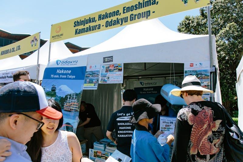 ▲Matsuri-Japan Festival:のぼりやポスターを多用し、箱根や江ノ島が東京都心部から近いことを強くアピール
