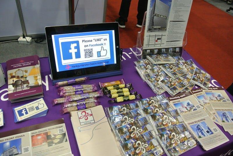 ▲TITF:フェイスブックにいいねをすると日本のお菓子が貰える