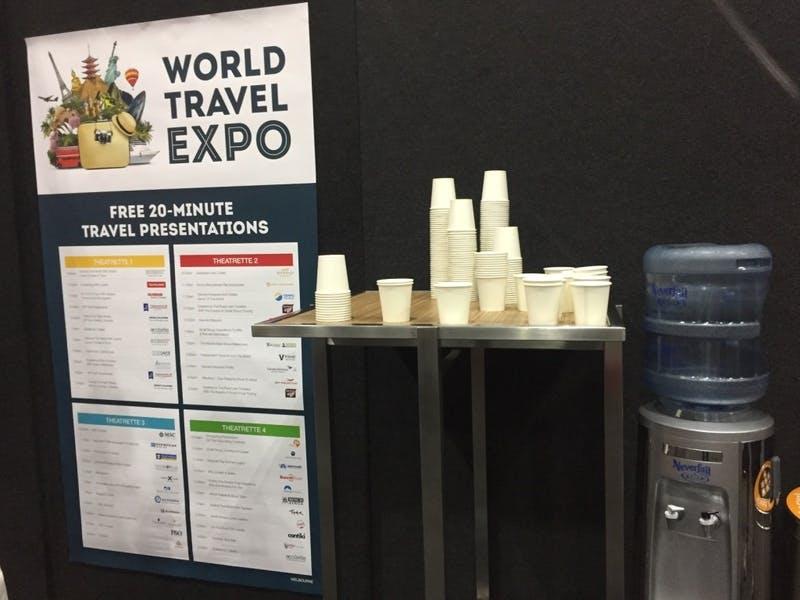 ▲World Travel Expo 2019の様子:水分補給スポット