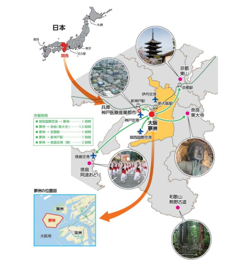 ▲夢洲(ゆめしま)とインバウンド観光スポットとのアクセスの関係:経済産業省より