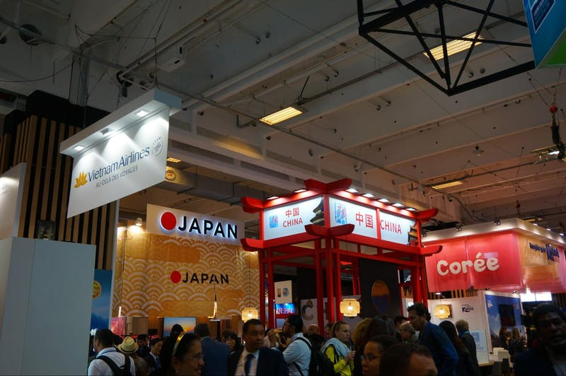 ▲「iftm TOP RESA」の様子:アジアセクション。日本は今回、ベトナム、中国、韓国と隣合った位置にありました。
