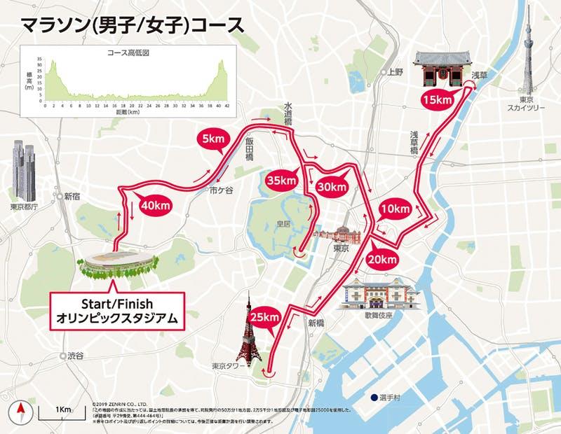 ▲[マラソン(男子/女子)コース]:東京オリンピック・パラリンピック競技大会組織委員会HPより引用