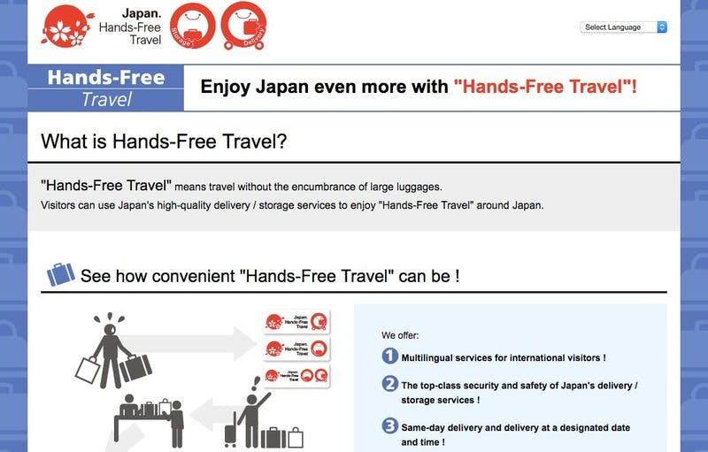 ▲JNTOのウェブサイトでは、インバウンド向けに手ぶら観光の方法について情報提供している