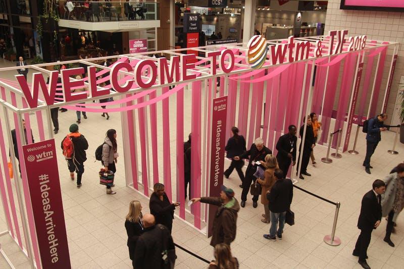 ▲「WTM London」:会場入り口の様子