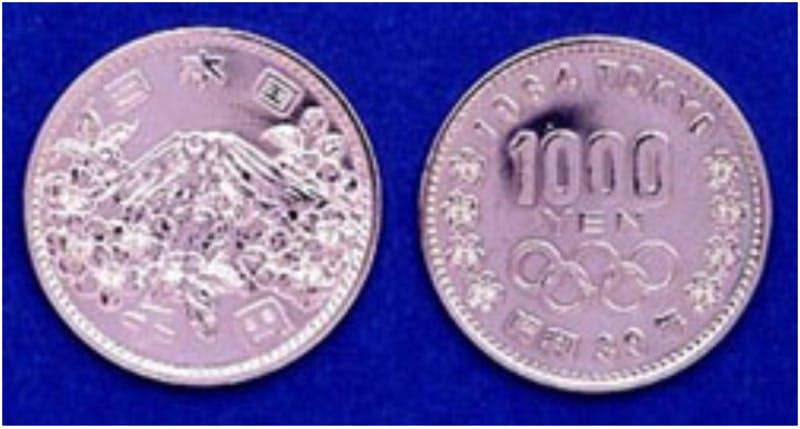 ▲東京オリンピック記念 1,000円銀貨幣:造幣局HP