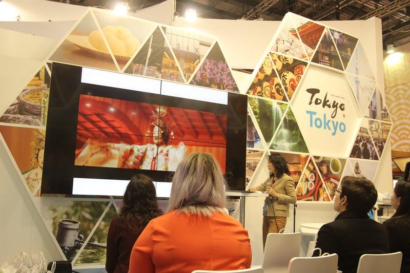 ▲「WTM London」:東京都のプレゼンテーションの様子