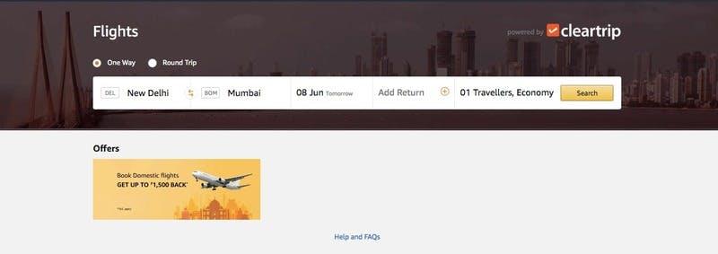 ▲Amazonのインド国内フライト予約サービス