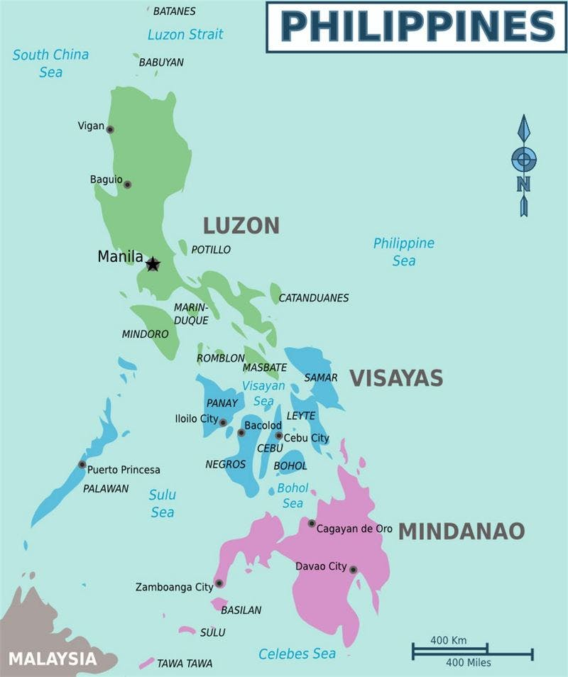 ▲Detailed regions map of Philippines:Mapslandより引用