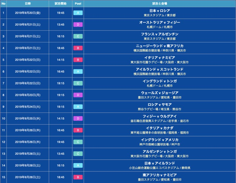▲[日程と会場(9月20日〜9月28日)]: J World Travel公式HPより引用