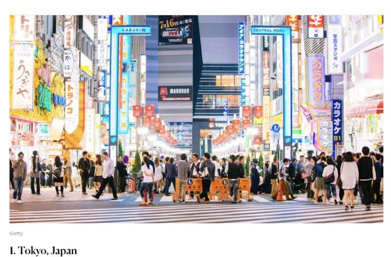 ▲「Best Big Cities」第1位の東京:「Condé Nast Traveler」公式ホームページより引用