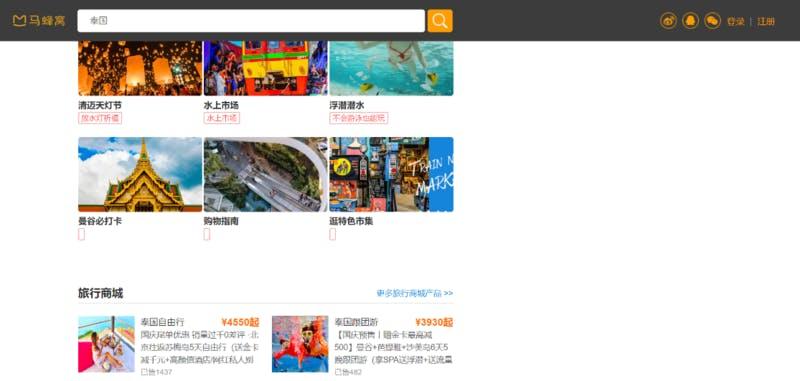 ▲Mafengwoのタイ旅行関連のページ