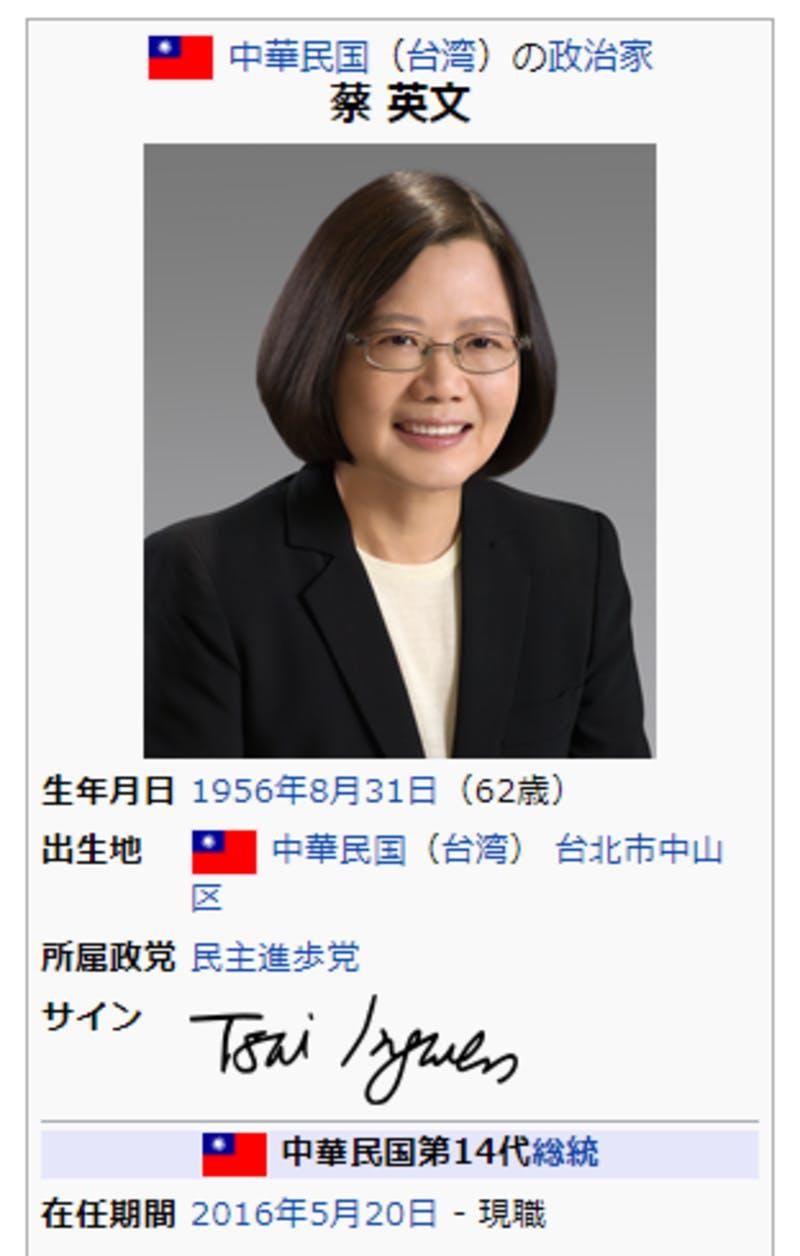 ▲中華民国(台湾)首相の蔡英文。サインは「Tsai Ing-wen」と書かれている。(Wikipediaより)