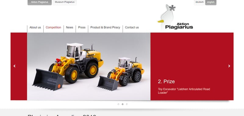 "▲[2. Prize - Toy Excavator ""Liebherr Articulated Road Loader""]:Aktion Plagiarius"