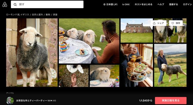 ▲[お茶目な羊とティーパーティー]:Airbnb・体験ページより