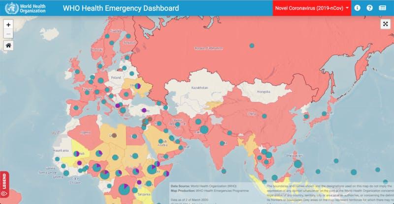 ▲[WHO Health Emergency Dashboard(健康危機ダッシュボード)]:WHO(世界保健機関)