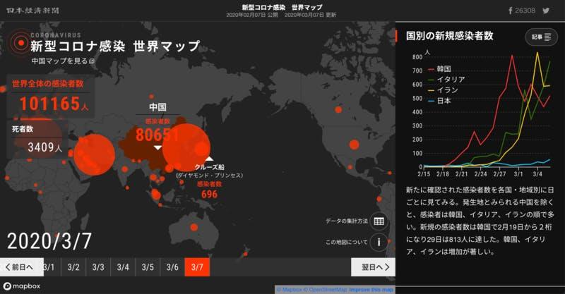 ▲[新型コロナ感染 世界マップ]:日本経済新聞