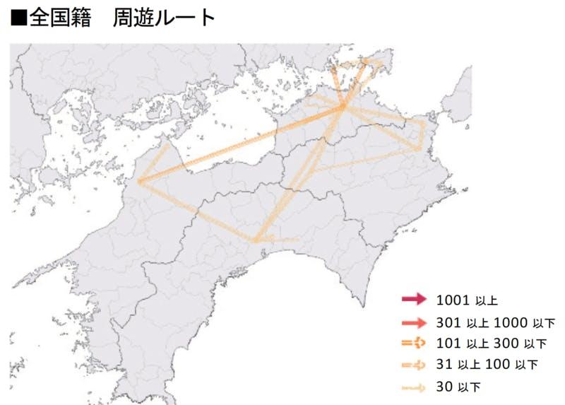 ▲[四国における全国籍周遊ルート]:インバウンド調査報告書2020