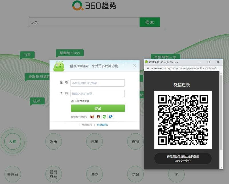 ▲[360趨勢ログイン画面。WeChatのアイコンクリックからログインできる]:筆者キャプチャ