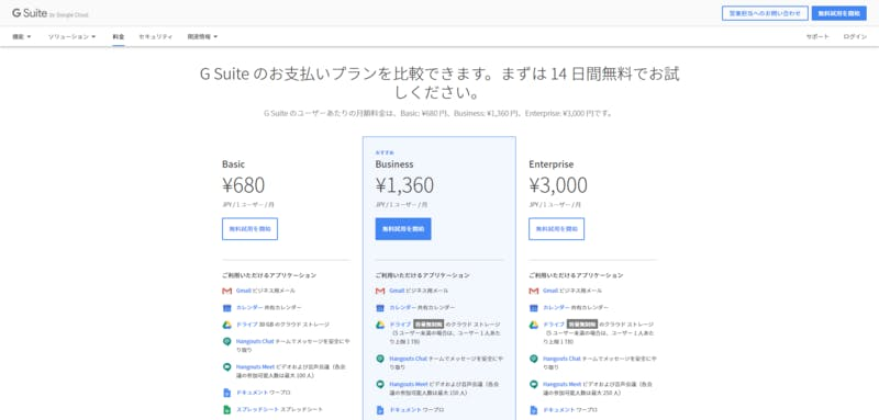 ▲[G Suiteの料金プラン]:公式サイト