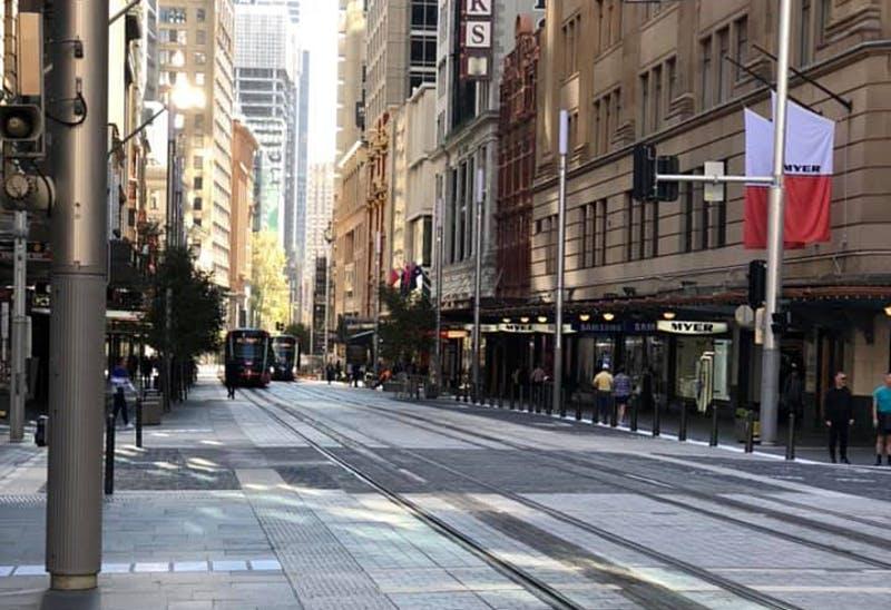 (画像:閑散としたシドニー市内の様子、5月6日撮影)