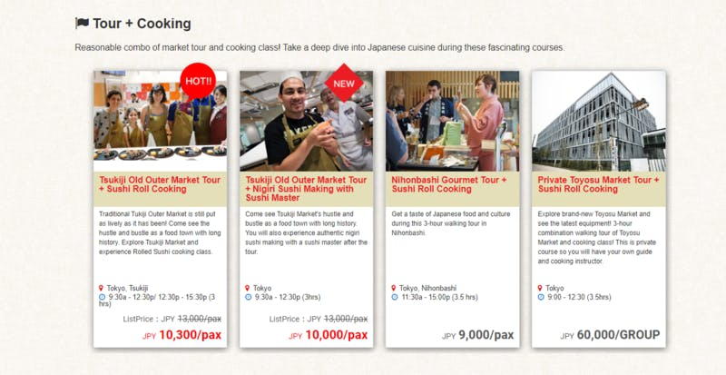▲[Activity List]:ABC Cooking Travel公式サイト
