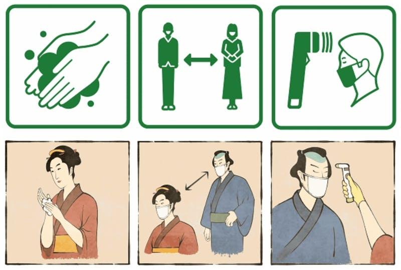 手洗いやマスク着用について注意喚起するピクトグラムと江戸時代風の絵画