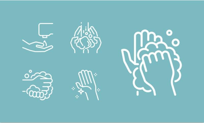 手洗いの方法をわかりやすく示したピクトグラム