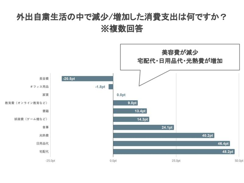 訪日経験者に聞く外出自粛生活の中で減少/増加した消費支出調査結果