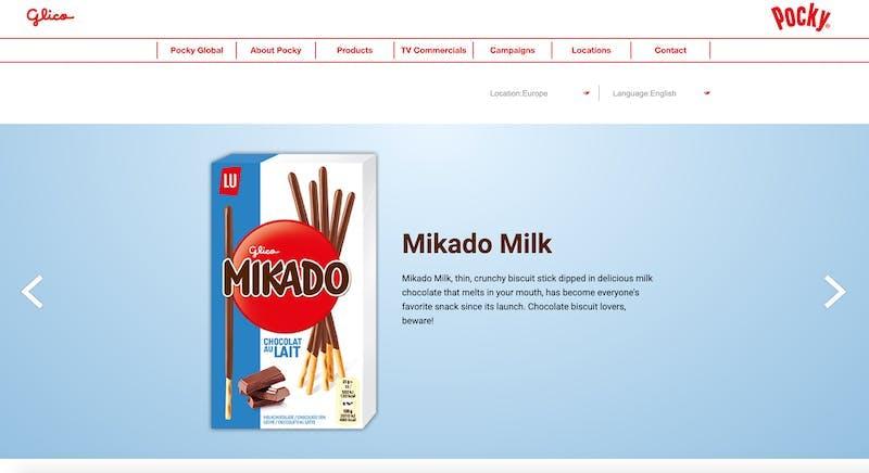 フランス版のポッキーであるMikado Milk