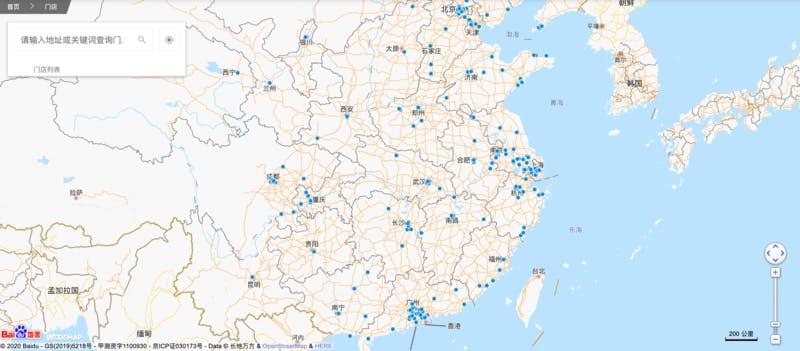 ▲[店舗マップ]:DECATHLON CHINA