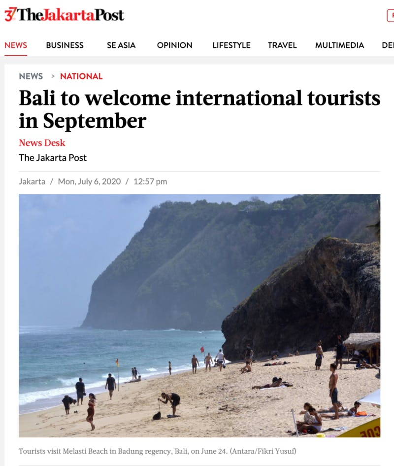 ▲[Bali to welcome international tourists in September]:The Jakarta Post