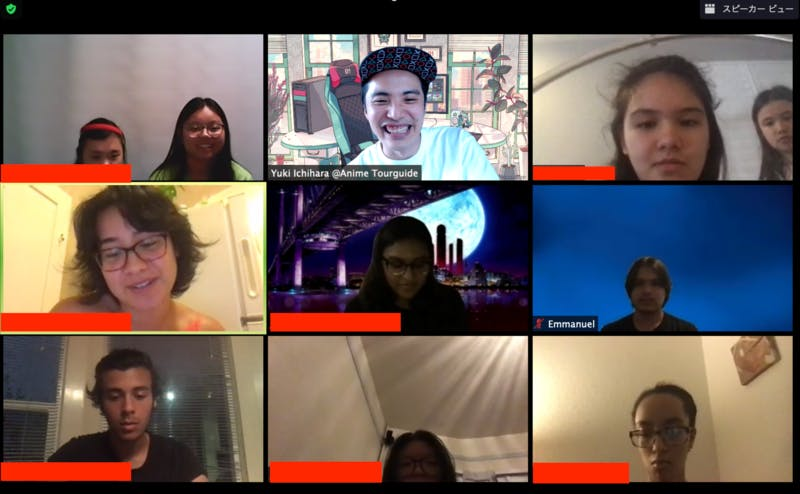 Zoomの画面に、アキバオンラインツアーガイドと参加者が並んでいる様子