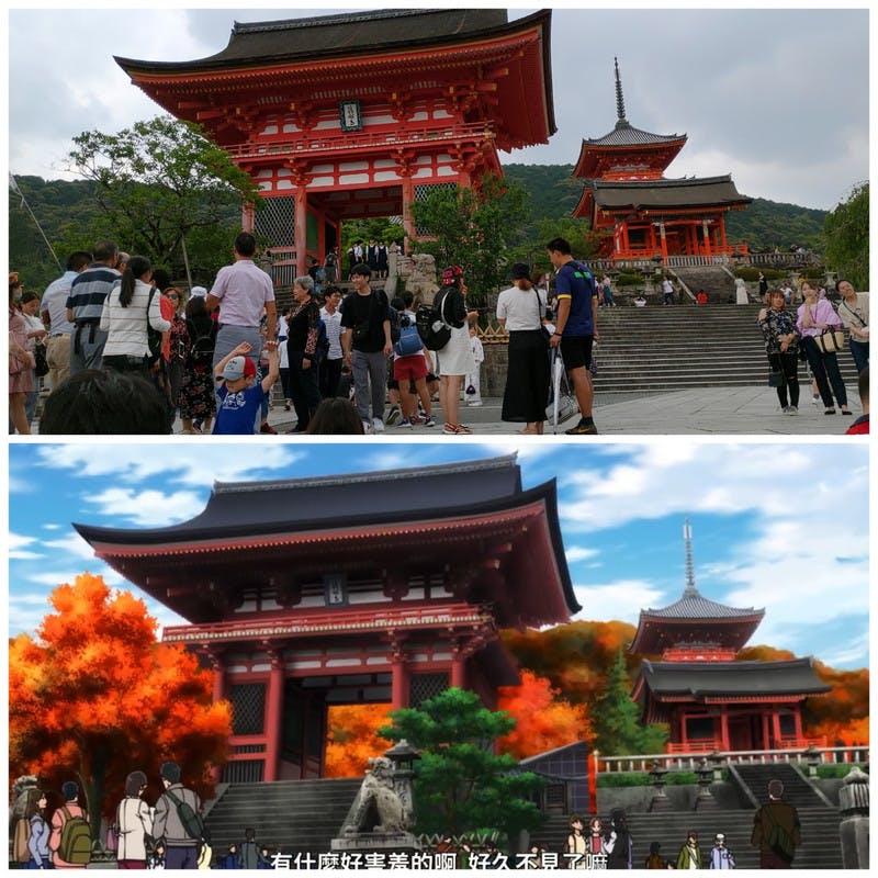 ▲[映画の清水寺と実物の比較]:chein17氏撮影