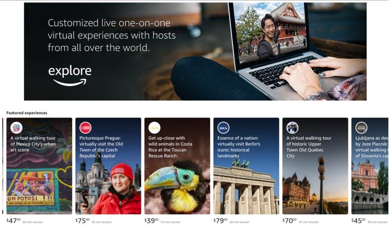 バーチャル世界旅行体験を提供するAmazon Exploreのラインナップの一部 Amazon Explore公式サイトより