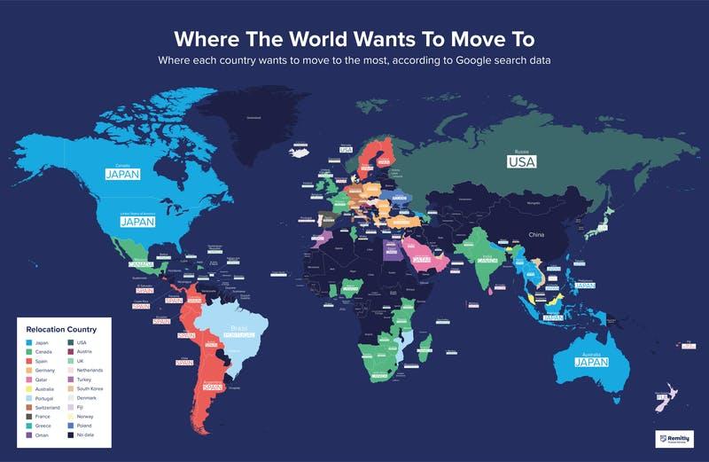 ▲[世界各国で引越したい国は?]:Remitly